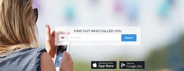 Sync.me mājaslapa, kurā var uzzināt telefona numura īpašnieku